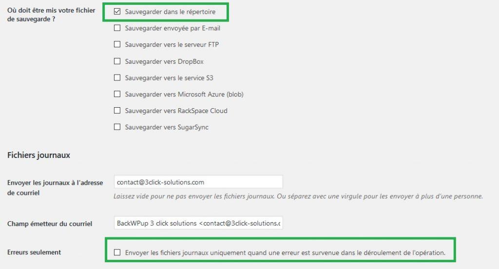 Options des fichiers journaux de la sauvegarde BackWPup