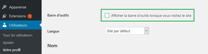 Désactiver la barre d'administration wordpress