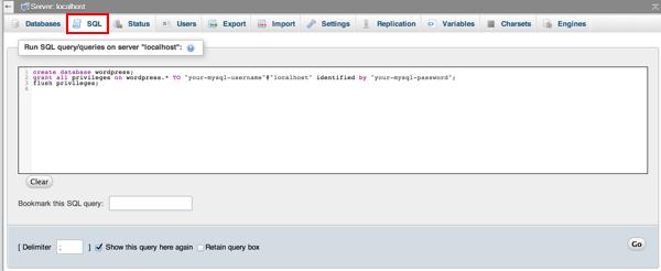 Onglet SQL de PhpMyAdmin
