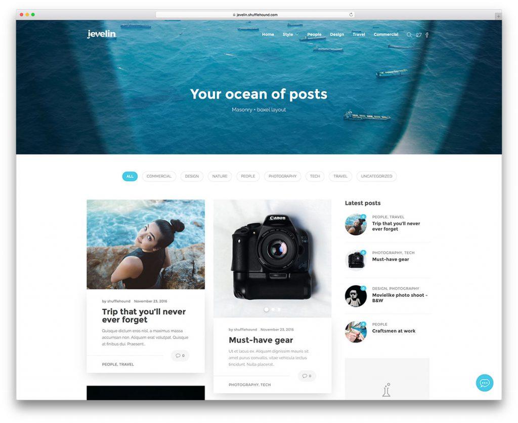 Jevelin blog thème WordPress
