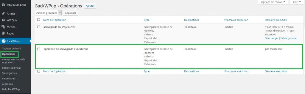 vérification de l'opération de sauvegarde BackWPip