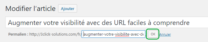 Apporter des modifications à l'URL des pages et des articles de façon manuelle