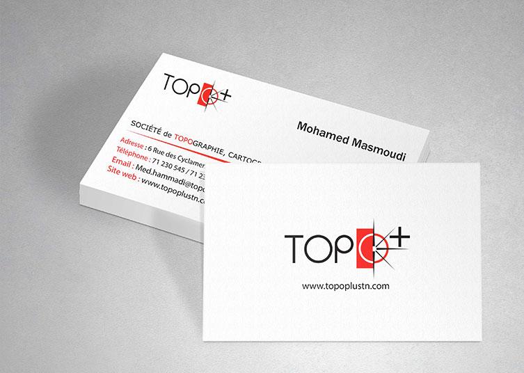 Référence design graphique carte de visite de TOPO+