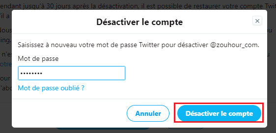 confirmer la suppression compte Twitter