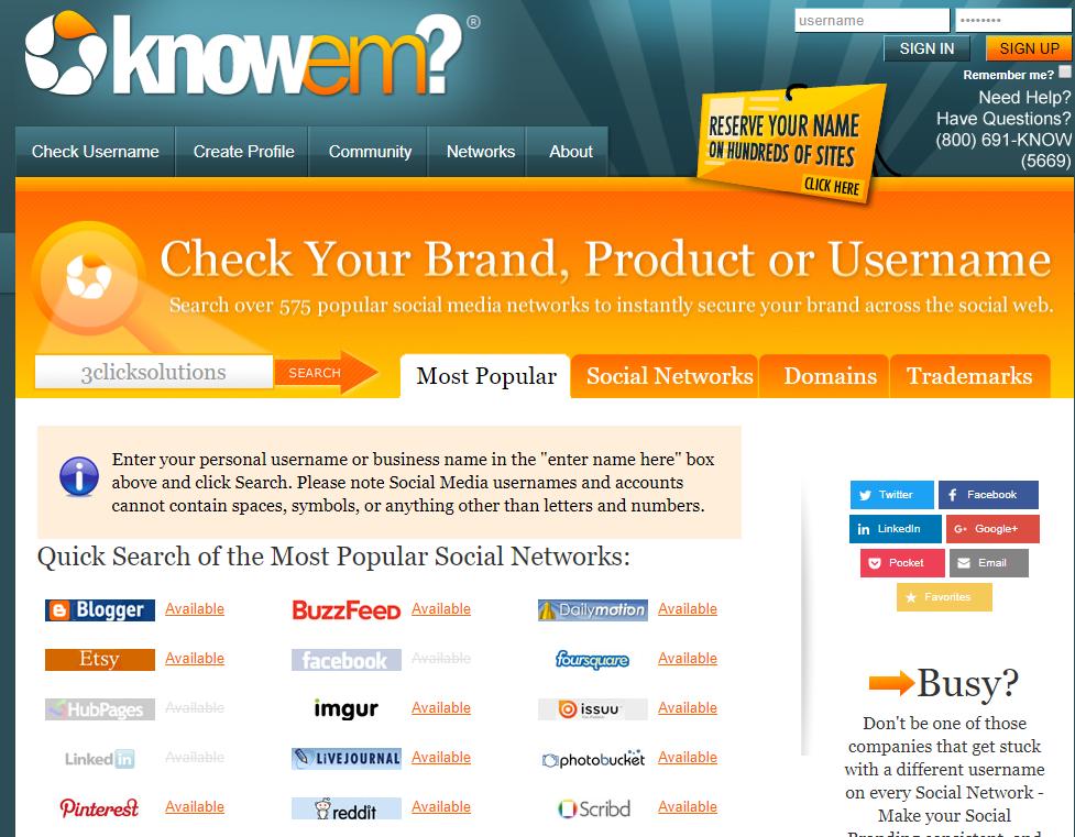 Recherches sur réseaux sociaux, noms de domaines, marques déposées