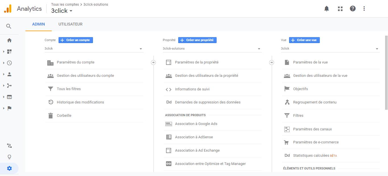 Google Analytics - Vue, compte et propriété