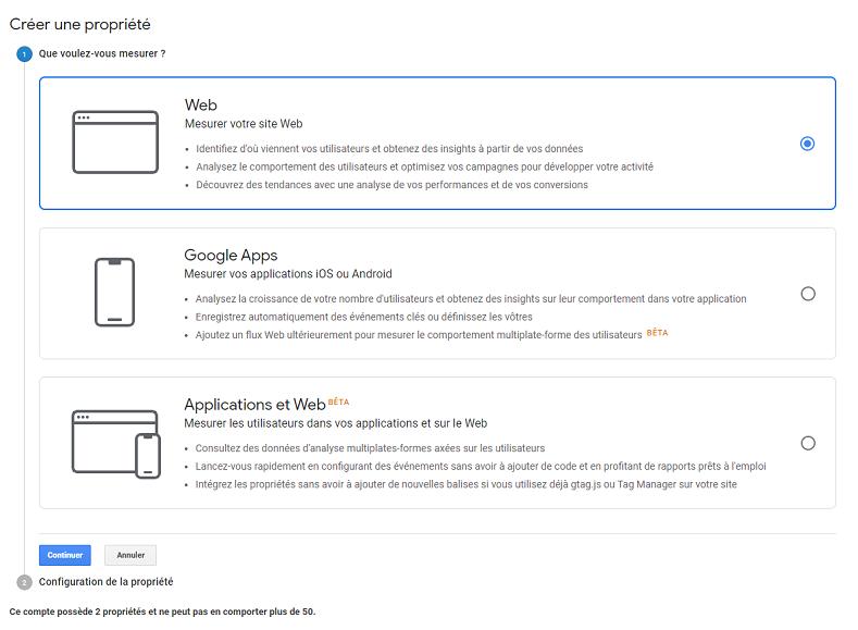Google Analytics - ajouter un site web
