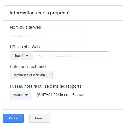 créer une nouvelle propriété dans Google Analytics