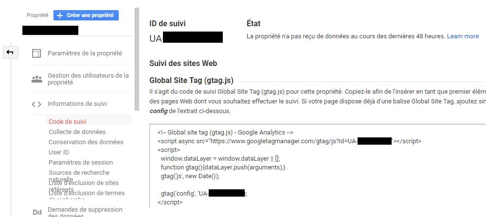 créer une nouvelle propriété dans Google Analytics - ID de suivi