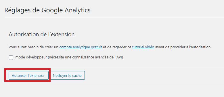 Autoriser l'extension Google Analytics sur WordPress