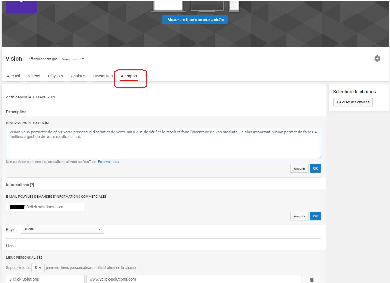 A propos pour la personnalisation d'une chaîne YouTube