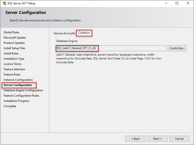 installation de SQL Server, configuration du serveur